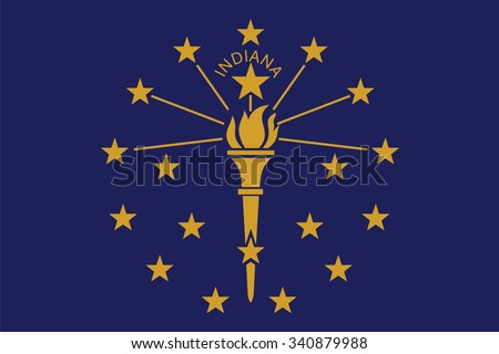 Flag of Indiana state of the United States. Vector illustration. - stock vector