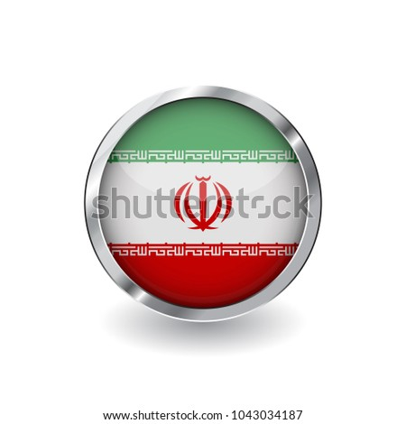 Flag of iran, button with metal frame and shadow. iran flag vector icon, badge with glossy effect and metallic border. Realistic vector illustration on white background.
