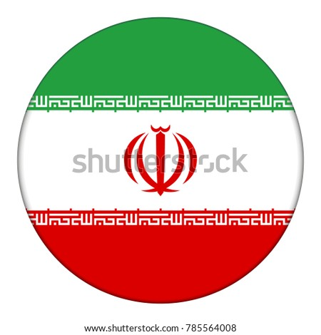 Flag of Iran, icon. Realistic color. Abstract concept. Vector illustration on white background.