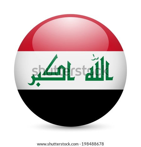 Flag of Iraq as round glossy icon. Button with Iraqi flag - stock vector