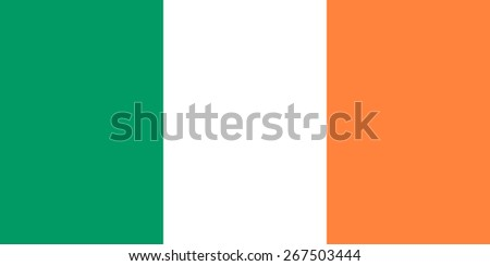 Flag of Ireland. Official Irish national symbol. Correct forms, colors and proportions. Three vertical rectangle - green, white, orange. For political images. - stock vector