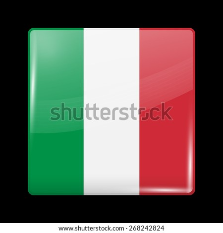 Flag of Italy. Glossy Icons Square Shape. This is File from the Collection European Flags - stock vector