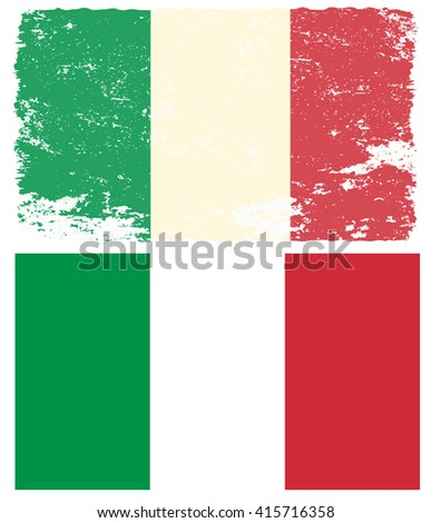 Flag of Italy in grunge style. Design element in vector. - stock vector