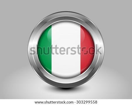 Flag of Italy. Metal Round Icons. This is File from the Collection European Flags - stock vector
