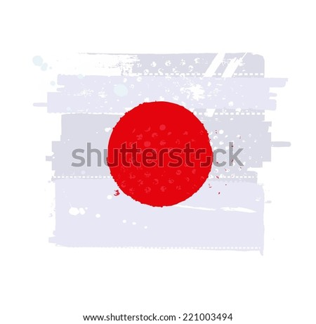 Flag of Japan in grungy style - stock vector