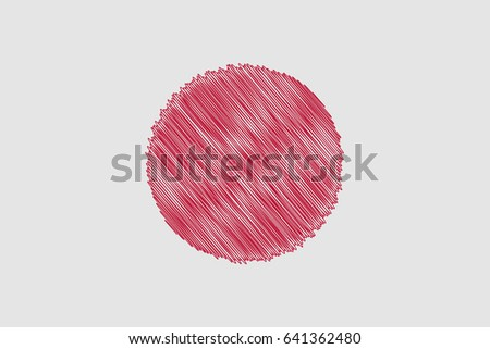 Flag of Japan  pencil drawing vector illustration. Using for decoration works.