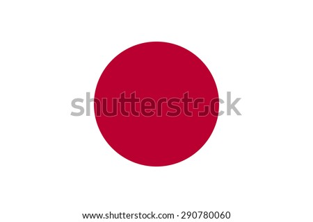 "Flag of Japan ""Solar Circle."" The official state symbol of the country. True color, shape, size and aspect ratio. The red circle on a white rectangle. Vector illustration. - stock vector"