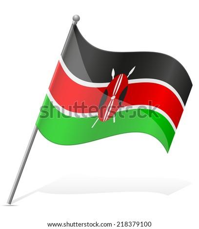 flag of Kenya vector illustration isolated on white background - stock vector