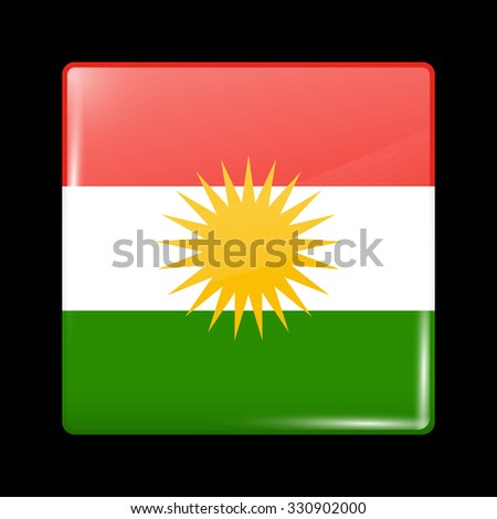 Flag of Kurdistan.  Glassy Icon Square Shape. This is File from the Collection Flags of Asia
