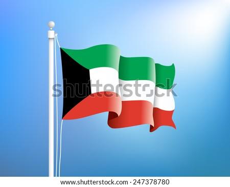 Flag of Kuwait in the blue sky, vector illustration - stock vector