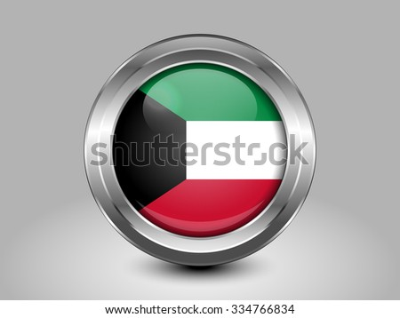 Flag of Kuwait. Metal Round Icons. This is File from the Collection Asian Flags - stock vector