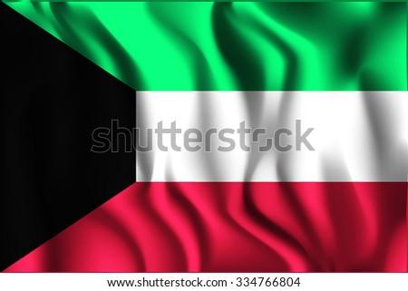 Flag of Kuwait. Rectangular Shape Icon with Wavy Effect - stock vector