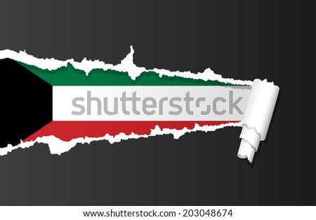 Flag of Kuwait under ripped paper vector illustration. - stock vector