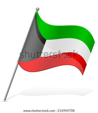 flag of Kuwait vector illustration isolated on white background - stock vector
