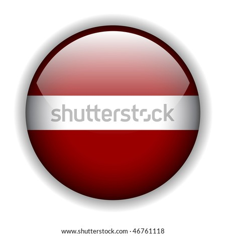 Flag of Latvia, glossy button, vector
