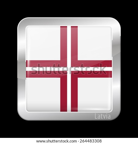 Flag of Latvia. Metal Icons Square Shape. This is File from the Collection European Flags - stock vector