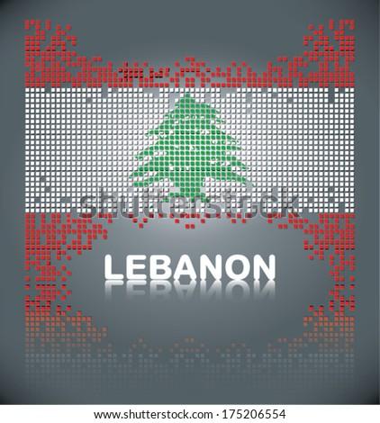 Flag of Lebanon from square blocks, vector - stock vector