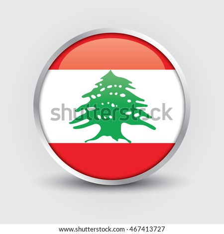 Flag of Lebanon glossy button