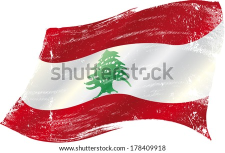 flag of Lebanon in the wind with a texture - stock vector