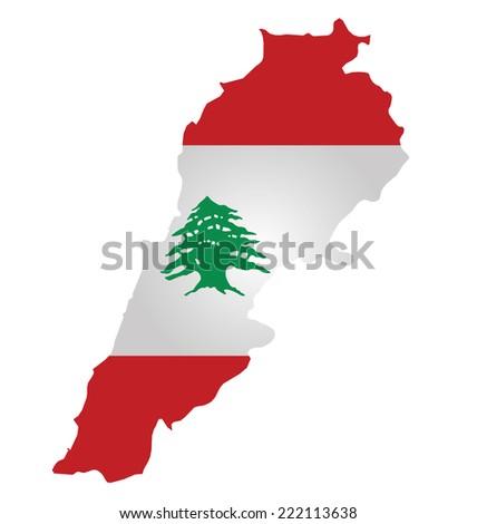 Flag of Lebanon overlaid on outline map isolated on white background  - stock vector
