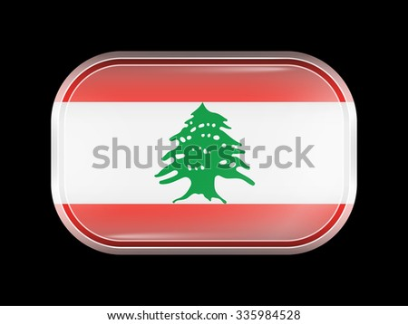 Flag of Lebanon. Rectangular Shape with Rounded Corners. This Flag is One of a Series of Glass Buttons