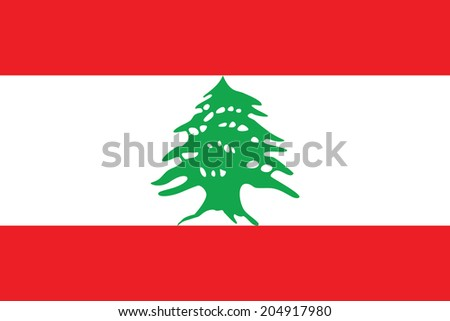 Flag of Lebanon. Vector. Accurate dimensions, element proportions and colors. - stock vector