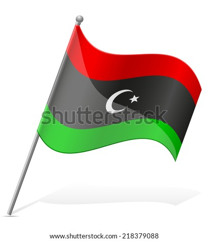 flag of Libya vector illustration isolated on white background - stock vector