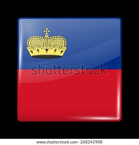 Flag of Liechtenstein. Glossy Icons Square Shape. This is File from the Collection European Flags - stock vector