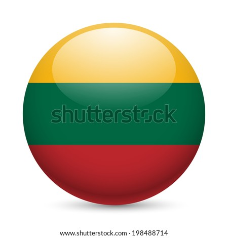 Flag of Lithuania as round glossy icon. Button with Lithuanian flag - stock vector