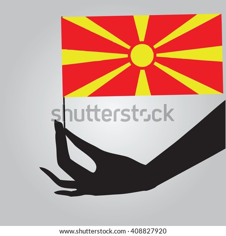 Flag of Macedonia in a female hand. Vector illustration.