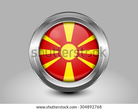 Flag of Macedonia. Metal Round Icons. This is File from the Collection European Flags - stock vector