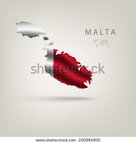 Flag of MALTA as a country with a shadow - stock vector