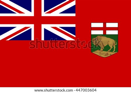 Flag of Manitoba is a province located at the longitudinal centre of Canada - stock vector