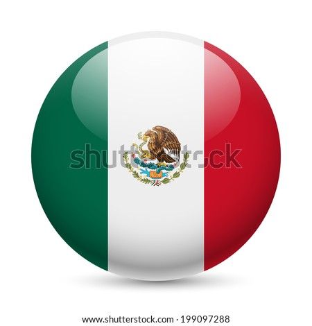 Flag of Mexico as round glossy icon. Button with Mexican flag - stock vector