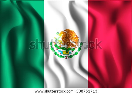 Flag of Mexico. Rectangular Shaped Icon with Wavy Effect. Aspect Ratio 2 to 3