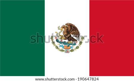 Flag of Mexico with coat of arms. Vector. Accurate dimensions, elements proportions and colors. - stock vector