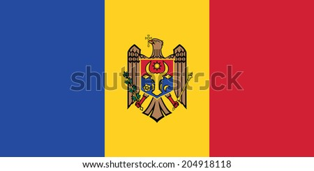 Flag of Moldova. Vector. Accurate dimensions, element proportions and colors. - stock vector