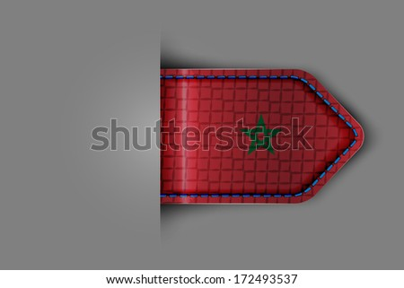 Flag of Morocco in the form of a glossy textured label or bookmark. Vector illustration.