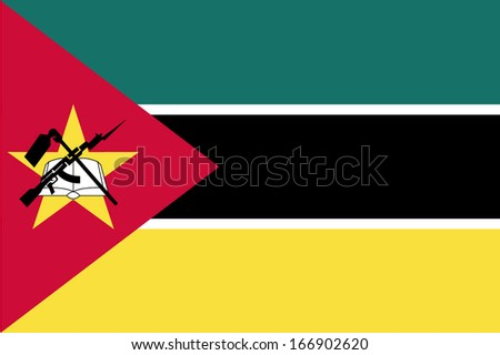 Flag of Mozambique. Vector. Accurate dimensions, element proportions and colors. - stock vector