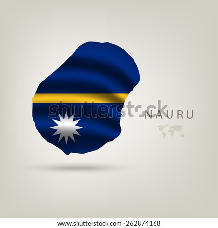 Flag of NAURU as a country with  shadow - stock vector