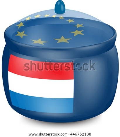 Flag of  Netherlands. Saucepan with a translucent cover. The symbol of the European Union. 3D illustration isolated on white background.