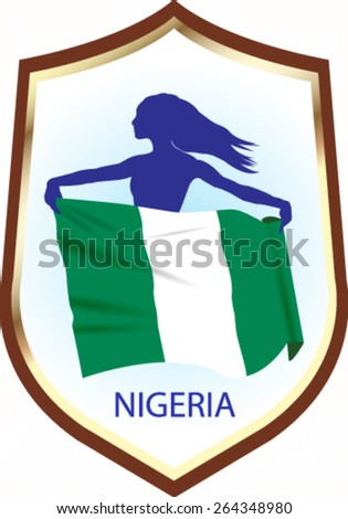 Flag of Nigeria with blazon - vector illustration. - stock vector