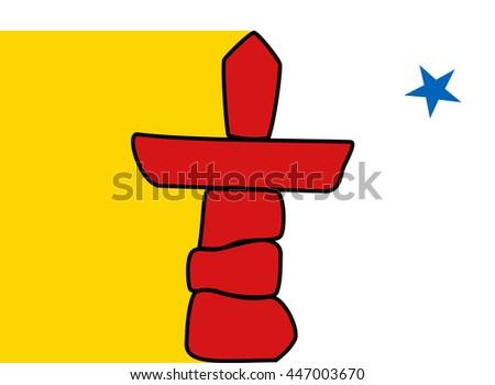 Flag of Nunavut of Canada - stock vector