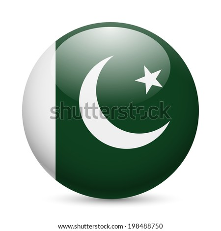 Flag of Pakistan as round glossy icon. Button with Pakistani flag - stock vector