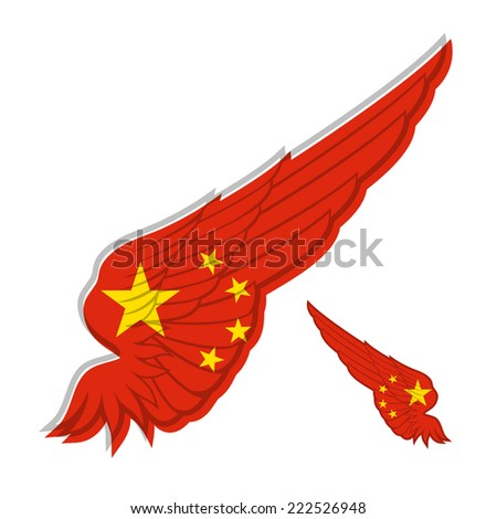 flag of People's Republic of China on abstract Wing and white background. Vector illustration - stock vector
