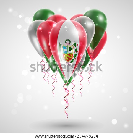 Flag of Peru on air balls in heart-shaped. Celebration and gifts. Ribbon in the colors of the flag are twisted under the balloon. Independence Day. Balloons on the feast of the national day - stock vector