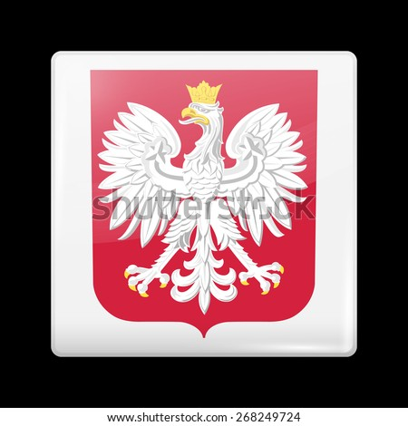 Flag of Poland. Glossy Icons Square Shape. This is File from the Collection European Flags - stock vector
