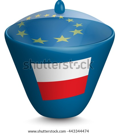 Flag of Poland. Urn with a translucent cover. The symbol of the European Union. 3D illustration isolated on white background.