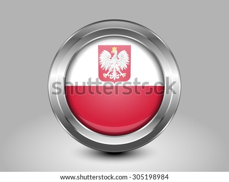 Flag of Poland with Eagle. Metal Round Icons. This is File from the Collection European Flags - stock vector