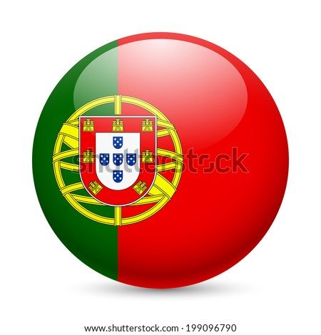 Flag of Portugal as round glossy icon. Button with Portuguese flag - stock vector